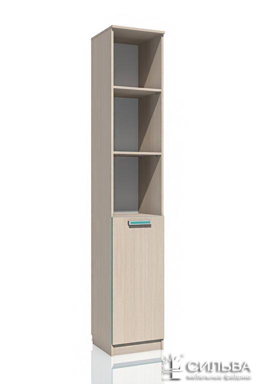 Шкаф для книг НМ 013.03-01 Рико (Дуб девонширский 8622/Аква, Дуб девонширский 8622)