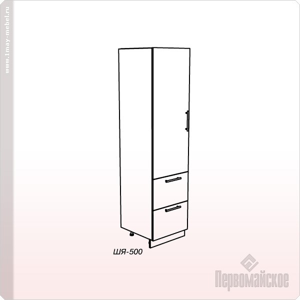 Шкаф-пенал ШЯ-500 Веста с ящ. + фас.(Венге)